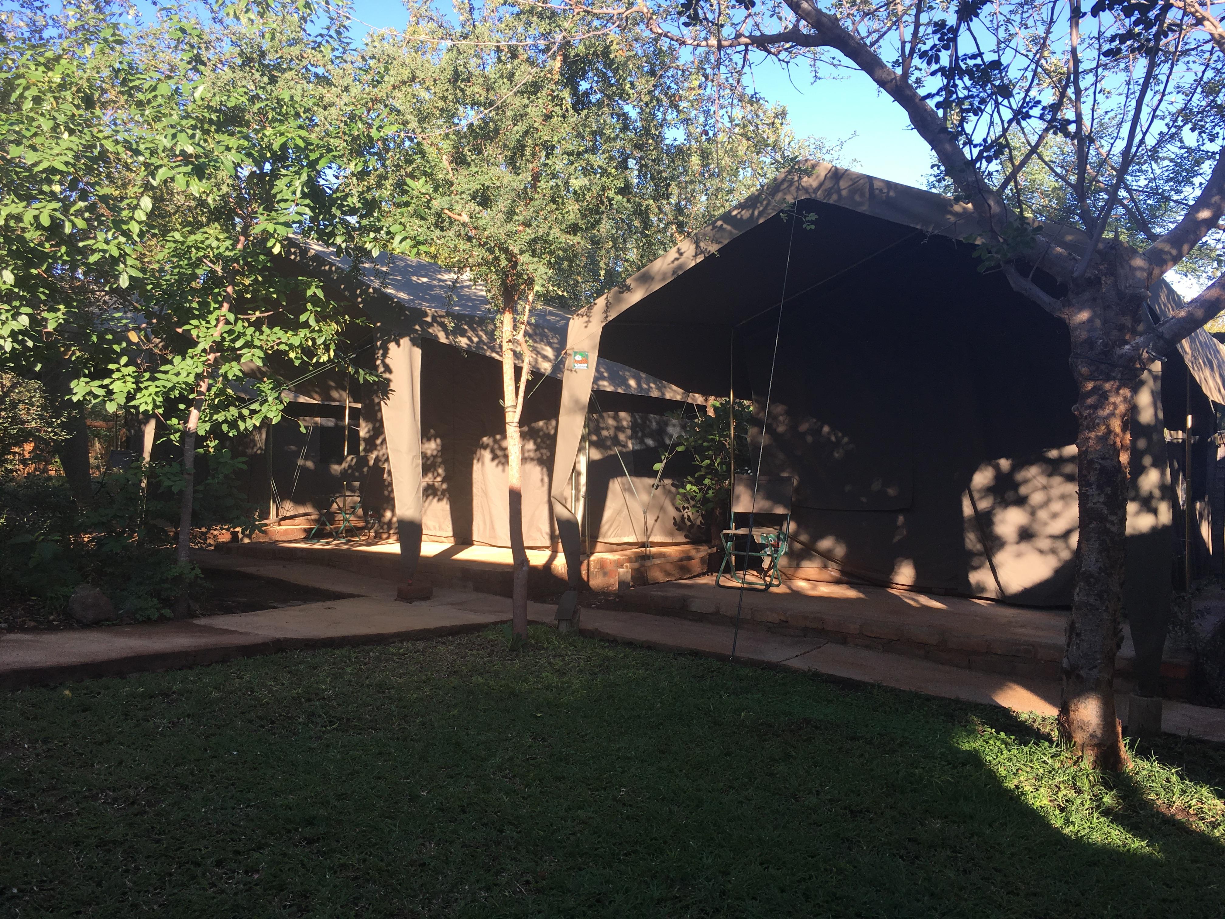 Safari Zelte der Volunteers bei diesem Afrika Freiwillingenprojekt in Südafrikas Krüger Park
